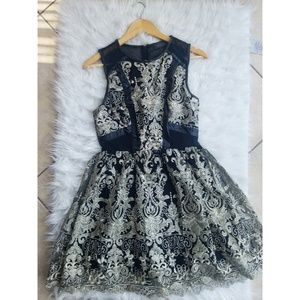 Astr the label black and gold embroidered dress